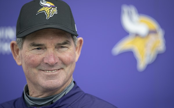 Mike Zimmer smiled Friday, the first day of Vikings rookie minicamp at their Twin Cities Orthopedic Center in Eagan. Zimmer, who is about to begin his