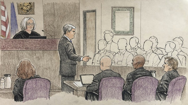 The courtroom is depicted during opening arguments in the murder trial of former Minneapolis police officer Mohamed Noor.