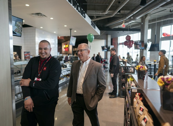 Cub store manger Mike Gruwell left and Cub's new CEO Mike Stigers walked the space at the new Cub's grand opening Thursday May 2, 2019 in Minneapolis,