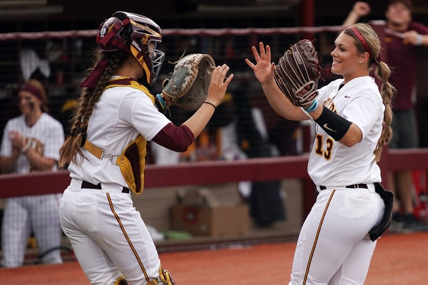 Two Gophers that could have a big impact in how the season ends: pitcher Amber Fiser and catcher Emma Burns.