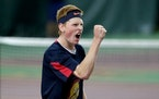 Orono senior John Kasner (shown at the Class 2A boys' tennis tournament in 2018) won the Section 2 singles championship by defeating teammate Karthik