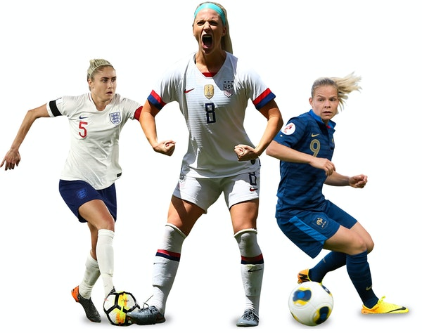 Defensive midfielder Julie Ertz, center, is one of the key players for the U.S. team, the defending Women's World Cup champion. Steph Houghton, left