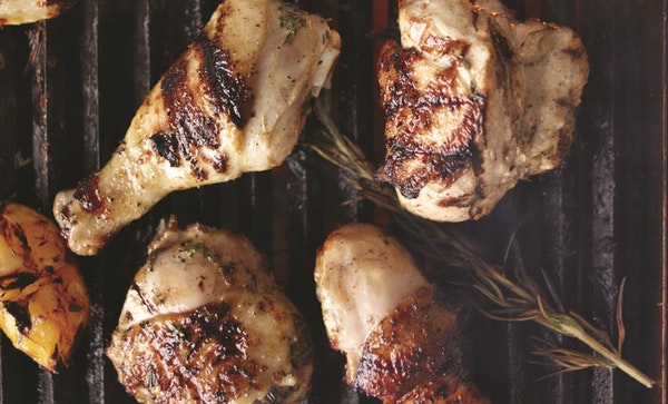 """Buttermilk and Rosemary brined chicken from """"Martha Stewart's Grilling: 125+ Recipes for Gatherings Large and Small."""""""