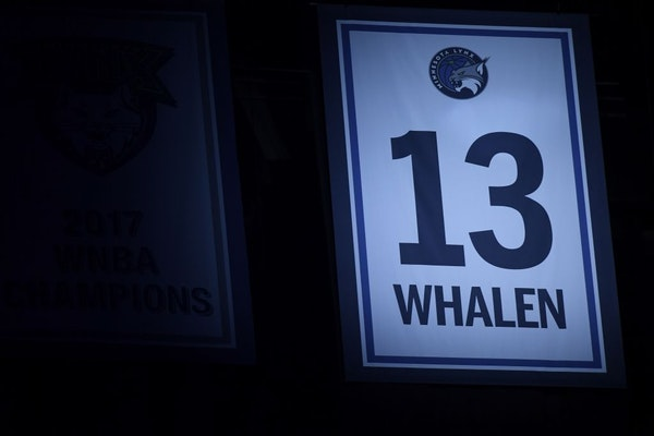 Lindsay Whalen's number in the rafters at Target Center.
