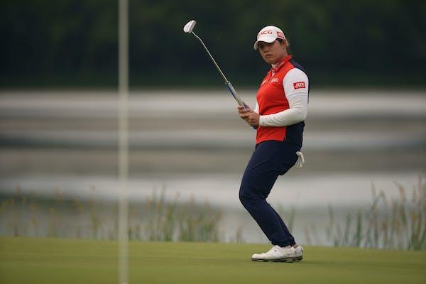 Ariya Jutanugarn reacts after missing a birdie putt on No. 10 during the third round of the KPMG Women's PGA Championship at Hazeltine