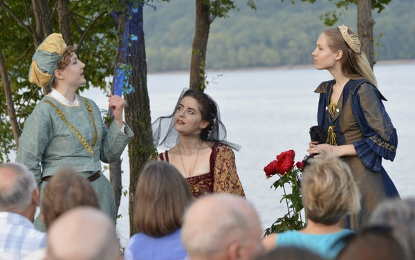 "Naomi Haag, Eva Gemlo and Cassidy Hall battled noisy geese last season at Bayport Marina in Shakespeare on the Point's ""Twelfth Night."""