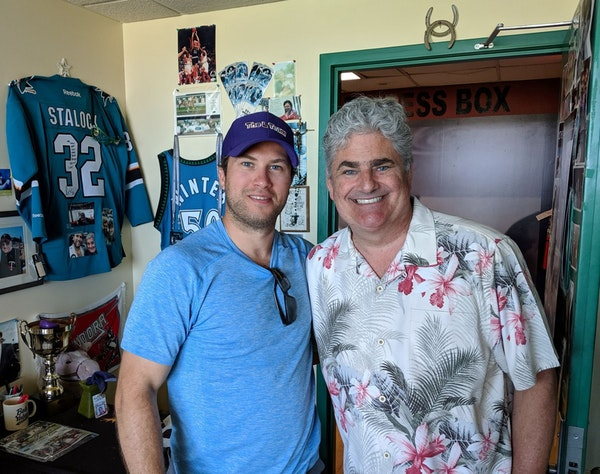 Wild goalie Alex Stalock, left, and Canterbury Park announcer Paul Allen have developed a friendship over the years and have invested on a handful of