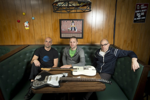 """""""It all came back to us really surprisingly quick,"""" said the Blind Shake's Mike Blaha, left, with bandmates Dave Roper and Jim Blaha."""