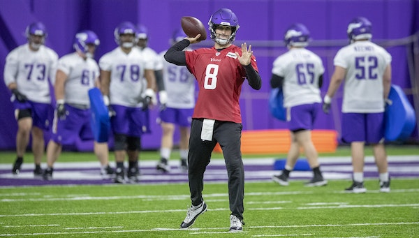 Minnesota Vikings quarterback Kirk Cousins took to the field for practice at the TCO Performance Center, Wednesday, May 22, 2019 in Eagan, MN.