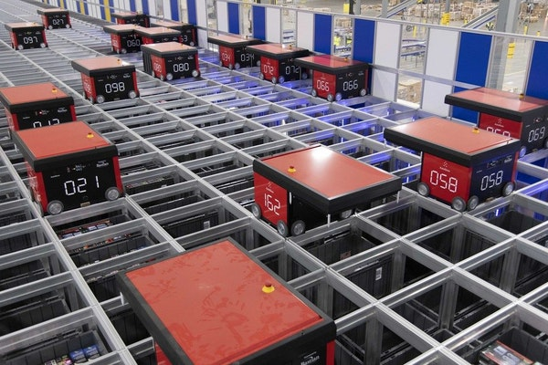 Robots at the Best Buy e-commerce facility in Compton, Calif., increase the speed and efficiency of getting Best Buy products out to customers by the