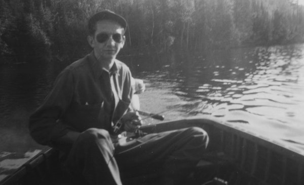 Don Anderson, Dennis Anderson's dad, on Gunflint Lake in the late 1940s after he returned from World War II.