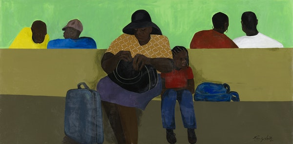 """Rose Smith's """"Journey to Minnesota,"""" part of the Weisman's """"Remembering Rondo"""" exhibit."""