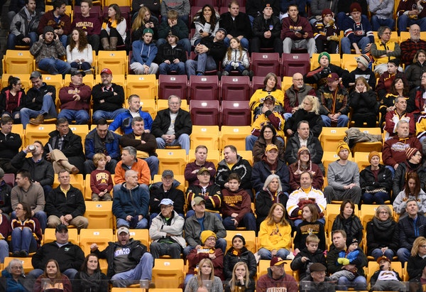 Fans sat in the stands during a Gophers men's hockey game in this 2016 file photo.
