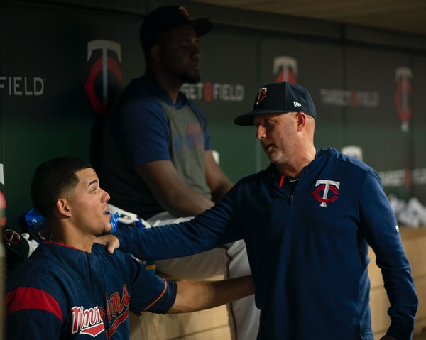 Twins starter Jose Berrios was congratulated by pitching coach Wes Johnson after Berrios threw eight innings against Boston, giving up only one first-