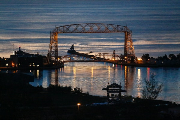 The sun rises over Duluth harbor as seen from Skyline Parkway, a favorite view for sightseers.