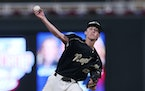 East Ridge pitcher Ryan Thelen threw a complete game in the Class 4A title game against New Prague, allowing two runs on six hits and a walk and strik