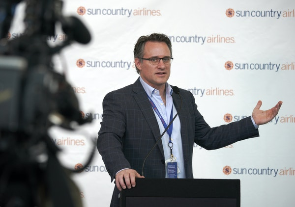Sun Country postponed its technology system transition after encountering a problem when the process began Tuesday. CEO Jude Bricker, shown in a 2018