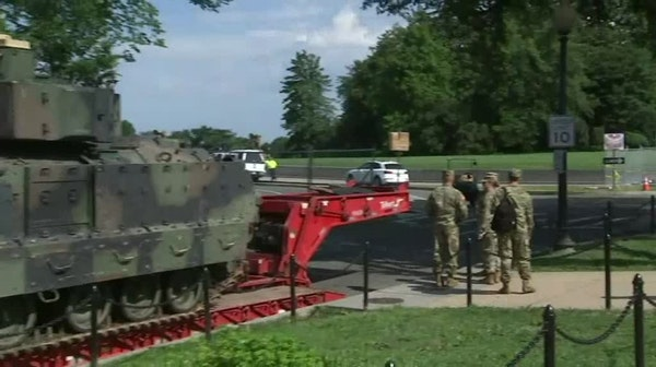 Military equipment in place for Trump's July 4th