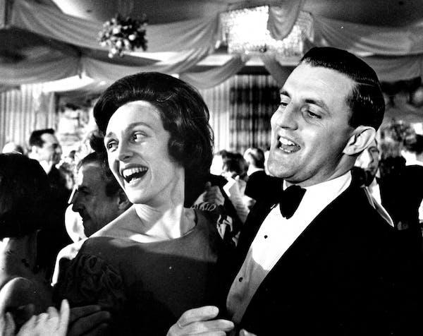 "Sen. Walter Mondale and Joan Mondale, newcomers among Minnesota ""regulars"" at an inaugural ball in Washington."