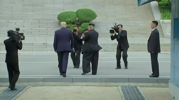 Trump meets Kim, steps into North Korea