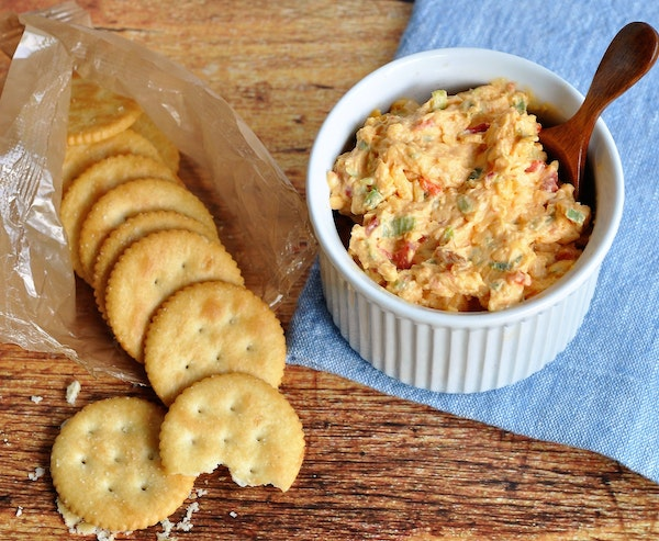 Pimiento Cheese is delicious on its own, above, or used in recipes like stuffed chicken, below.