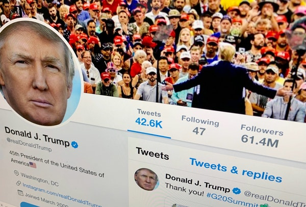 The U.S. President Donald Trump's Twitter feed is shown on a computer screen on Thursday, June 27, 2019, in New York.