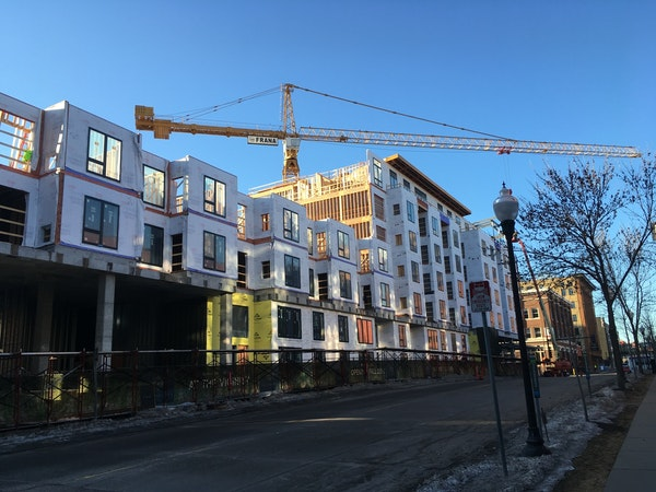 The Vicinity Apartments by Sherman Associates, under construction in Minneapolis in early 2019.