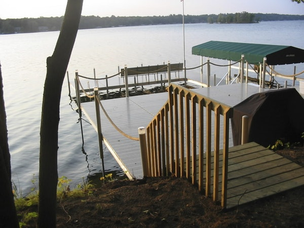 This dock on Cross Lake, seen in a file photo, appears to violate Minnesota Department of Natural Resources regulations that requires that no section