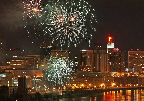 A July 2008 fireworks display over downtown St. Paul.