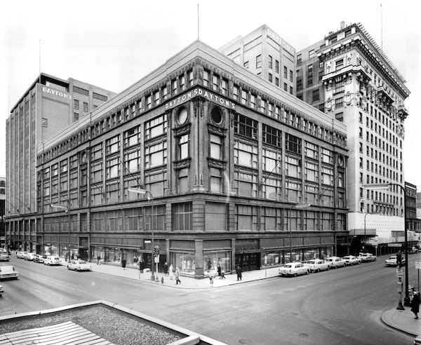 The oldest portion of the Dayton's complex, the original building at S. 7th Street & Nicollet Avenue, shown in a 1960 file photo, was built in 1902. T