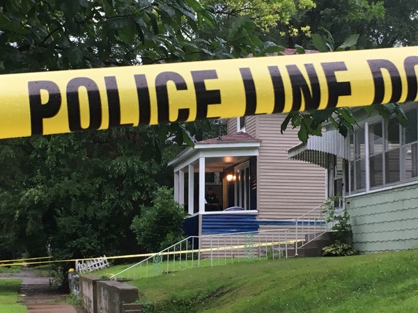 The St. Paul house Saturday morning where a woman was found dead Friday night in the 500 block of Charles Avenue.