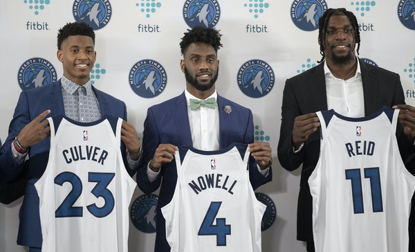 Wolves draft picks Jarrett Culver, left , Jaylen Nowell, and undrafted rookie Naz Reid give the team three promising newcomers. They were introduced a
