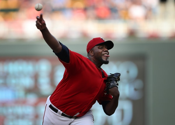 Minnesota Twins starting pitcher Michael Pineda (35) threw a pitch in the first inning at Target Field Tuesday June 18, 2019 in Minneapolis, MN.