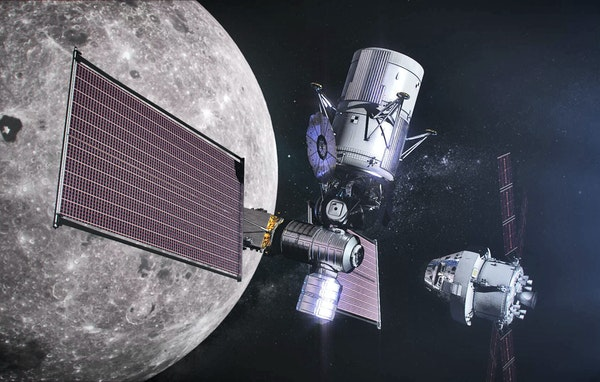 Artist's conception of the Lunar Gateway station, the Lunar Lander and the Orion crew module that would be used to explote the moon beginning in 202