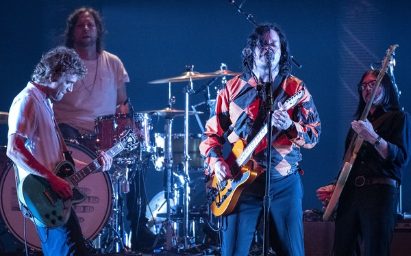 From the left, Brendan Benson, Patrick Keeler, Jack White and Jack Lawrence of the Raconteurs performed Monday at the Armory.
