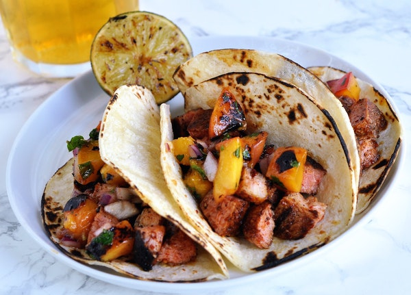 Recipe: Ancho Pork Tacos With Grilled Nectarine Salsa