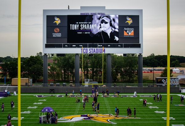 The Vikings paid tribute to offensive line coach Tony Sparano last July at their Eagan facility, days after Sparano's unexpected death.