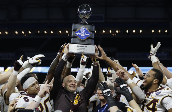 Gophers coach P.J. Fleck and his players celebrated their 34-10 Quick Lane Bowl victory over Georgia Tech last Dec. 26 in Detroit.