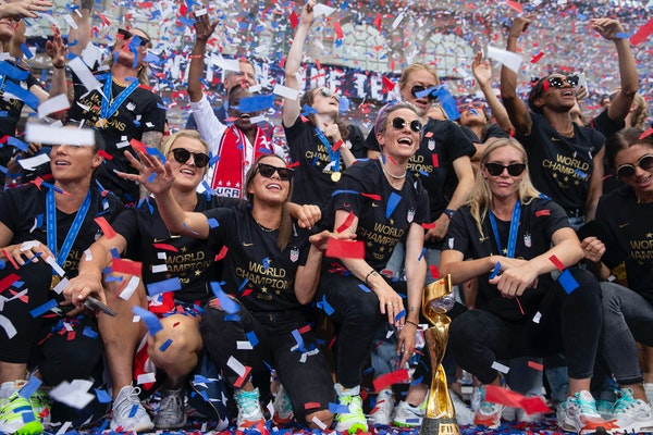 The World Cup-winning U.S. women's national soccer team (shown at City Hall after their celebratory parade in New York) will play at St. Paul's Alli