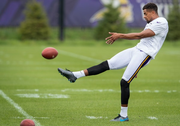 Kaare Vedvik showed off his punting skills on his first day with the Vikings. He might end up with that job, or he might end up being their placekicke