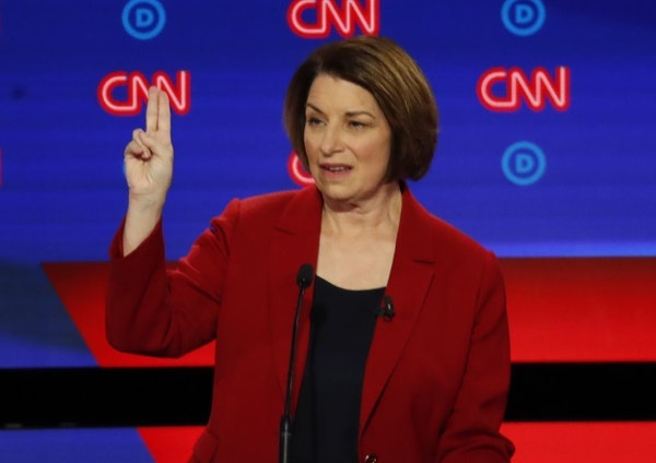 Sen. Amy Klobuchar, D-Minn., speaks during the first of two Democratic presidential primary debates hosted by CNN Tuesday, July 30, 2019, at the Fox T