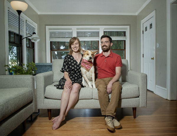 Kristen and Jake O'Toole (and their dog Penny) bought a 1921 bungalow in the Longfellow neighborhood in Minneapolis.