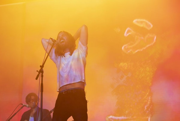 Tame Impala frontman Kevin Parker early in his band's set Tuesday night at Surly Brewing.