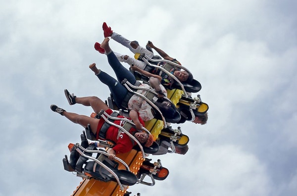 Riders on the Equinox got a thrill during the last day of the Minnesota State Fair Monday, Sept. 3, 3018, in Falcon Heights, MN.