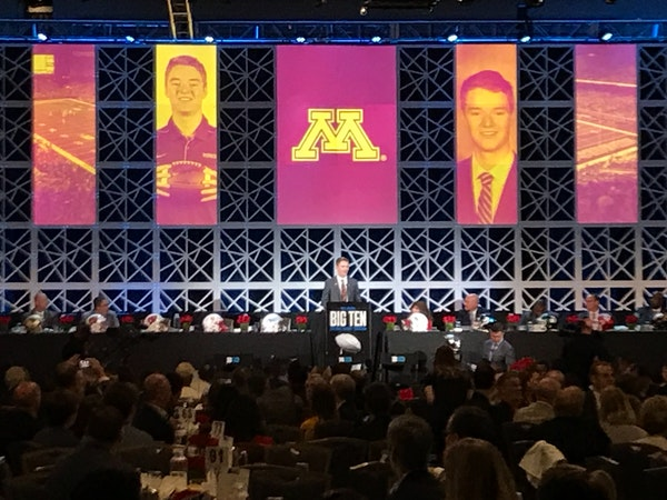 Casey O'Brien spoke during a luncheon at Big Ten Media Days in Chicago.