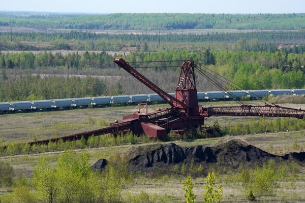 Equipment and rail cars from the mine's LTV Steel processing days.