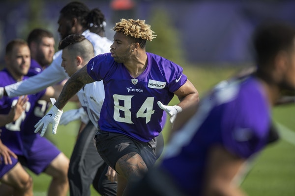 Rookie tight end Irv Smith Jr. ran drills during the first day of training for Vikings rookies at TCO Performance Center .