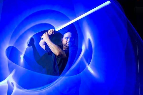 Shameem Moshrefzadeh customizes LED sabers.