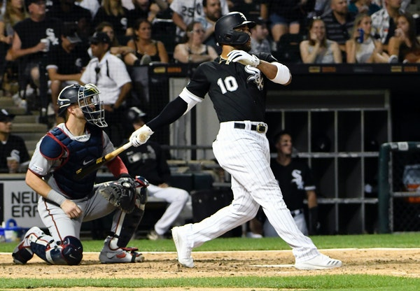 Yoan Moncada hit a double against the Twins during the seventh inning