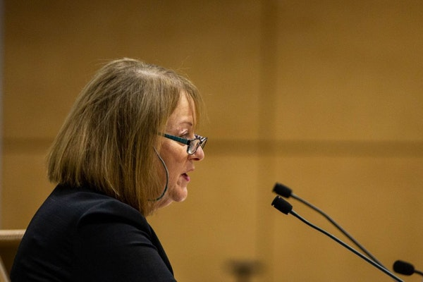 DHS Acting Commissioner Pam Wheelock spoke during a Aenate hearing about recent events in the Minnesota Department of Human Services at the Minnesota
